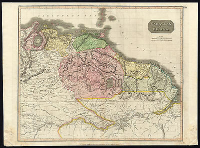 Antique Map-GUIANA-VENEZUELA-COLOMBIA-PERU-BRAZIL-Thomson-1817