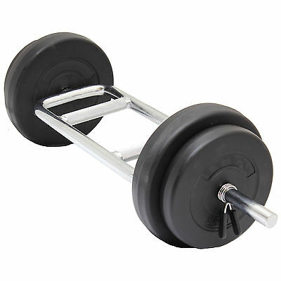 "22Kg Tricep Weight Bar Set Barbell Weight Lift Hammer Curl Lifting 1"" Plate/disc"