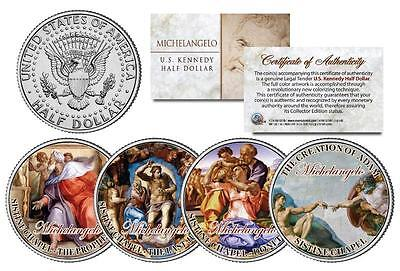 MICHELANGELO SISTINE CHAPEL Painting Art Colorized JFK Half Dollar US 4-Coin Set