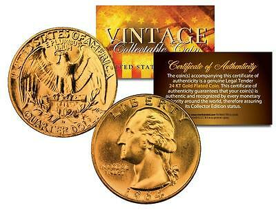 1964 SILVER WASHINGTON Quarter US Coin 24K GOLD PLATED w/Capsule & Certificate