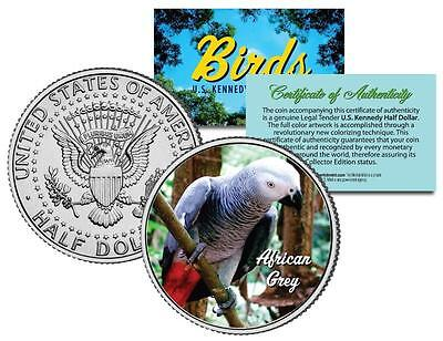 AFRICAN GREY * Birds * JFK Half Dollar US Coin Congo PARROT with Bright Red Tail