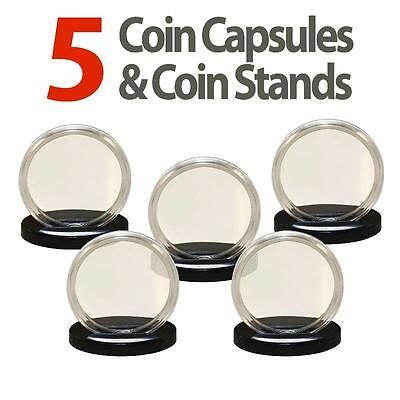 5 Coin Capsules & 5 Coin Stands for PRESIDENTIAL $1 / SACAGAWEA Airtight A26