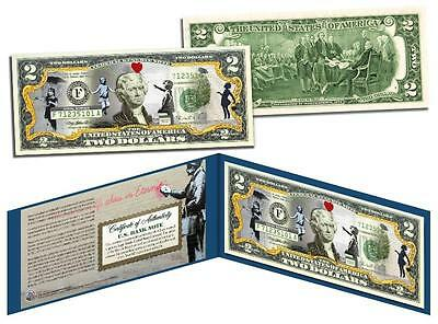 BANKSY * GIRLS * Colorized $2 Bill US Legal Tender Banknote Street Art Graffiti