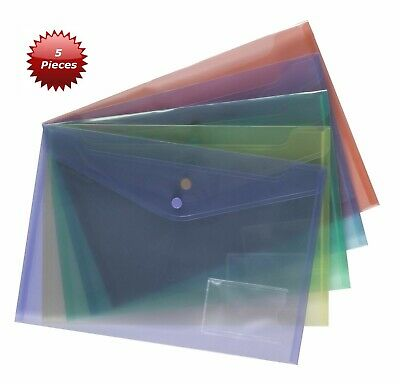 5 x A4 Quality Document Wallet Assorted Popper File Folder Plastic Stud Closing