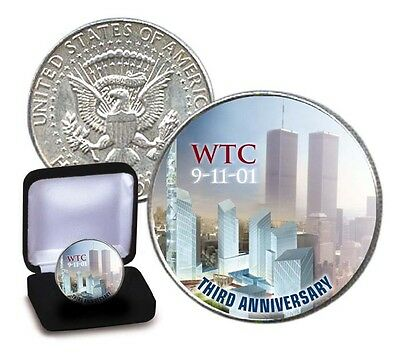 *3rd Anniversary* WTC World Trade 9/11 US MINT JFK HALF DOLLAR COIN with BOX COA