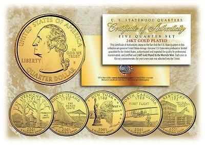 2001 GOLD U.S. Mint State Quarters * Complete Set of 5 Coins * with Capsules