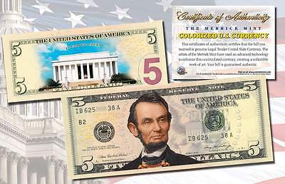 *MUST SEE* Genuine Legal Tender COLORIZED 2-Sided $5 Five-Dollar U.S. Bill