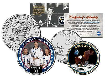 APOLLO 11 SPACE Colorized 2-Coin Set Quarter & JFK Half Dollar NASA ASTRONAUTS