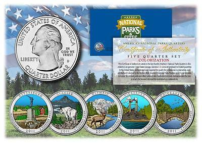 2011 Colorized National Parks America the Beautiful Coins *Set of all 5 Quarters
