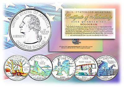 2001 HOLOGRAM U.S. MINT STATE QUARTERS * Complete Set of 5 Coins * with Capsules