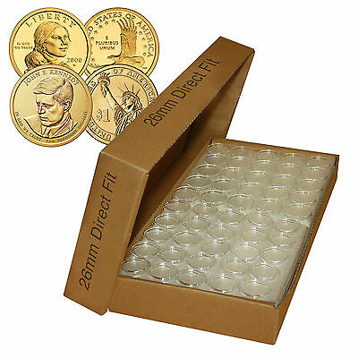 25 Direct Fit Airtight A26 Coin Holders Capsules For SACAGAWEA $1 26mm (QTY: 25)