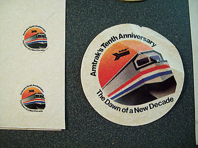 AMTRAK'S TENTH ANNIVERSARY - THE DAWN ON A NEW DECADE - LOT OF STICKERS