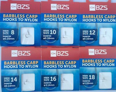 BZS BARBLESS HOOKS to Nylon Size 8 10 12 14 16 18 20 Coarse Carp match Fishing