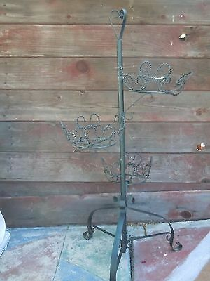 Vintage Black Wrought Iron 3 Tier Metal Plant Pot Stand Holder Garden Yard Decor
