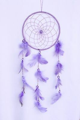 "5"" x 15"" Lilac Purple Dream Catcher Handmade Feather Car Wall Home Decor"