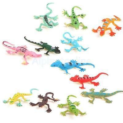 12pcs Plastic Small Lizard Gecko Figures Realistic Model Kids Toys Colorful