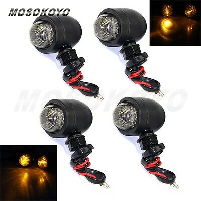 Black Metal Bullet 10mm LED Turn Signals light For Harley Cruiser Chopper 4pcs