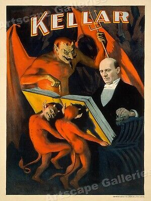 """Kellar """"Reads with the Devil"""" 1894 Vintage Style Magic Poster Print - 18x24"""