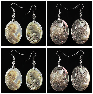 A6831 Pair carved shell women head turtle earring,more shape to select