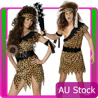Cavewoman Costume Velour Headband an COST-W NEW UK IMPORT Brown with Dress