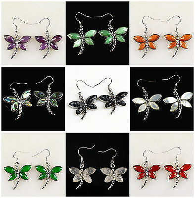A6889 Gemstone pair purfle dragonfly earring,more material to select