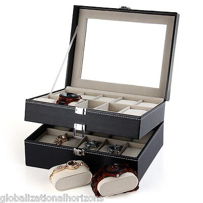 6/12/20 Grids PU Leather Watch Storage Display Case Box Jewelry Organizer Gift