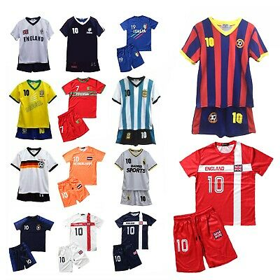 Football Kit T-Shirt Shorts Set Top Vest Summer New Boys Girls Size 2-12 Years