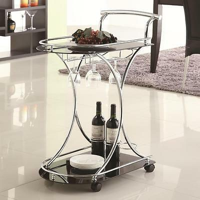 Kitchen Wine Serving Cart with 2 Black Glass Storage Shelves by Coaster 910001