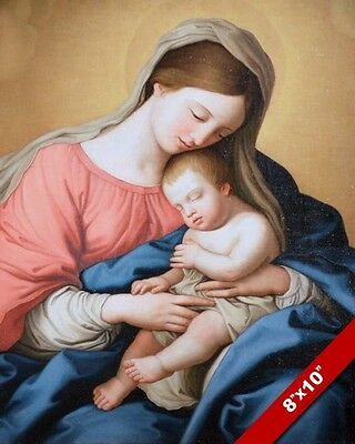 Madonna Virgin Mary & Baby Jesus Painting Bible Christian Art Real Canvas Print