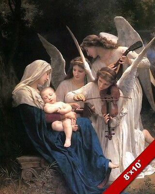 Angels Playing A Lullaby For Baby Jesus Painting Christian Art Real Canvas Print