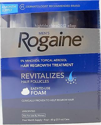 Rogaine Mens 5% Minoxidil Topical Hair Regrowth Treatment Aerosol Foam 4 Months