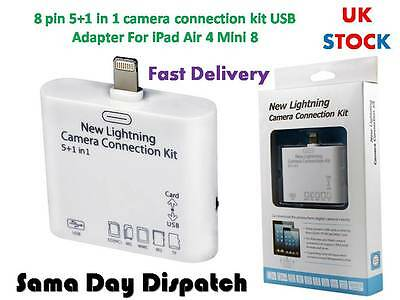 8 pin 5+1 in 1 SD Card Reader Camera Connection kit USB Adapter for iPad Air 4