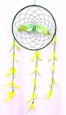 Large Green Dream Catcher Handmade W/ String Feather Car Wall Home Decor