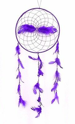 Large Purple Dream Catcher Handmade With String Feather Car Wall Home Decor