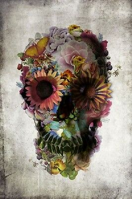DOD FLOWER SKULL DAY OF THE DEAD POSTER (61x91cm)  PICTURE PRINT NEW ART