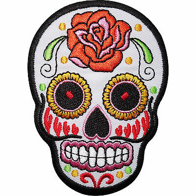 White Skull Rose Flower Embroidered Iron / Sew On Patch Clothes Badge Transfer