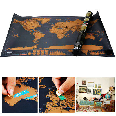 Deluxe Edition Large World Poster Scratch Off Map Travel Log Atlas DIY Gift - AU