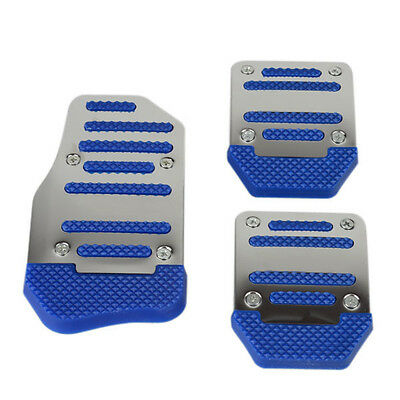 3Pcs Non-slip Car Auto Manual Foot Pedals Accelerator Brake Cover Pad Blue IDH