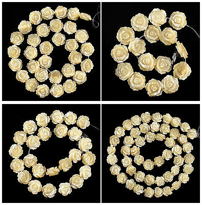 A7132 Carved gemstone yellow shell flower loose beads,More size to select