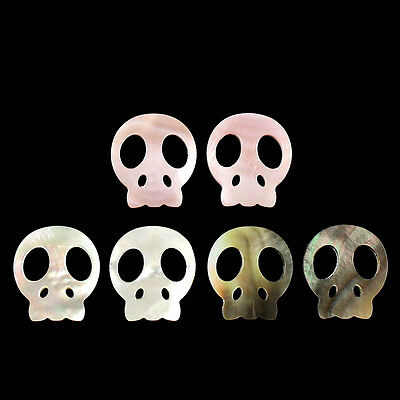 A7156 Carved gemstone shell skull face pendant bead,More color to select