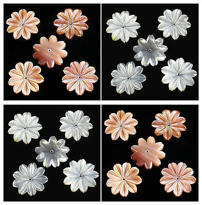 A7171-1 Carved gemstone shell flower pendant bead,more color to select