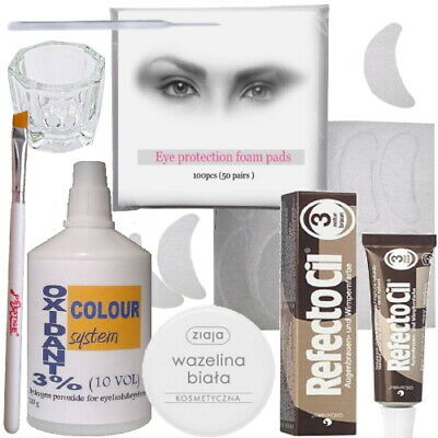 REFECTOCIL Eyelash Eyebrow Tint+ BRUSH+ 100ml OXIDANT GLASS DISH Tinting Dye Kit