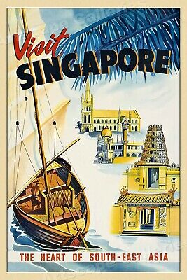 1954 Travel Poster - Visit Singapore Vintage Style Travel Poster - 20x30