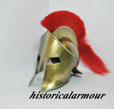 Medieval King Leonidas Helmet Roman Spartan 300 Movie W/ Red Plume Sca Costume""