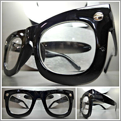 Mens or Women VINTAGE RETRO Style Clear Lens EYE GLASSES Thick Matte Black Frame