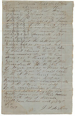 Rare 1856 Bill of Sale for Mining Claim from Mancineta Hill Nevada County CA