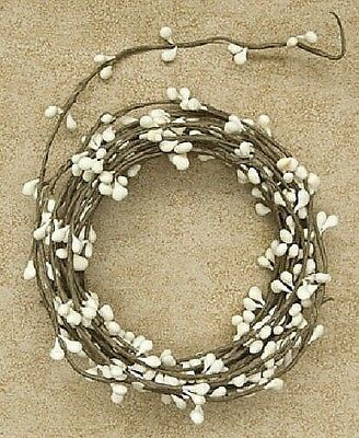 18ft Primitive Pip BERRY GARLAND -- Cream / Ivory  -- single ply
