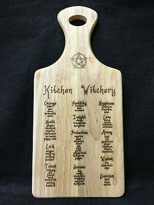 Handcrafted Wooden Kitchen Witchery Sign with Magical Herbs ~ Pagan ~ Wicca
