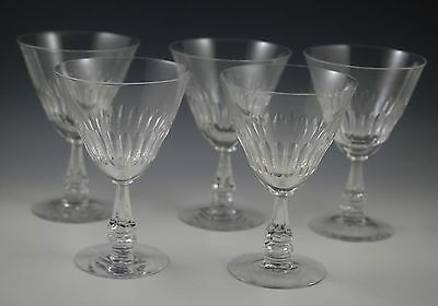Elegant Glass-1950's Tiffin Silhouette Cut Crystal Set Of 5 Water Goblets