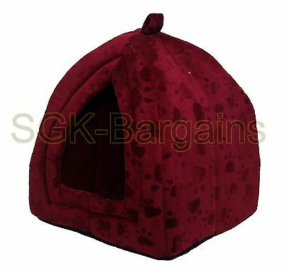 Foldable Pet Cat Dog Kitten Warm Fleece House Bed Igloo Soft Cave Mat Puppy Red
